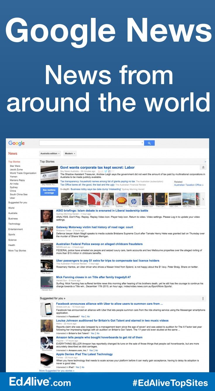 News from around the world | Allows students to search past news articles and archived news to find information about different periods in history or other significant events. #SocialStudies #EdAliveTopSites
