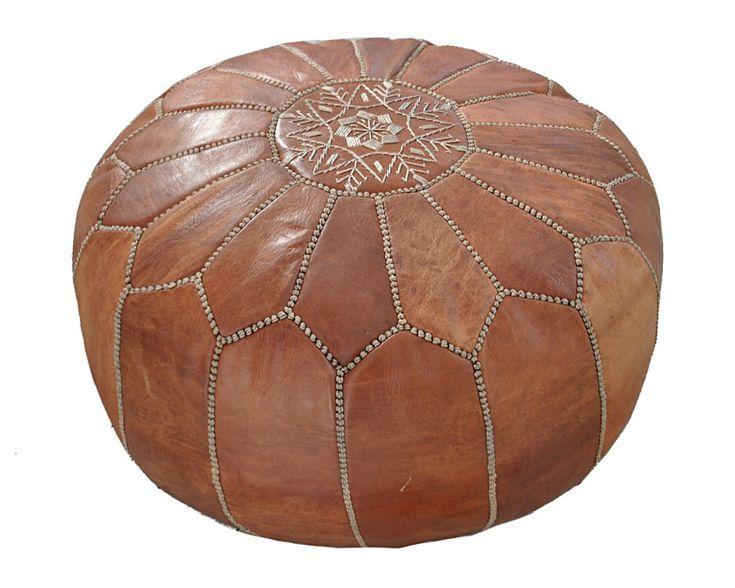 Marockansk Läder Sittpuff Natur - EtnoDesign.se - Unikt & Handgjort