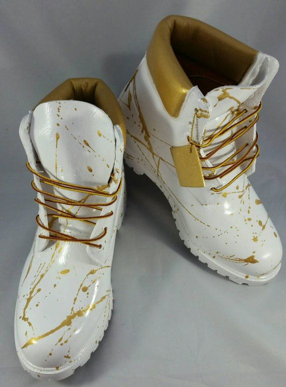Custom Gold Splatter Paint White Out Timberland by DivineKidz