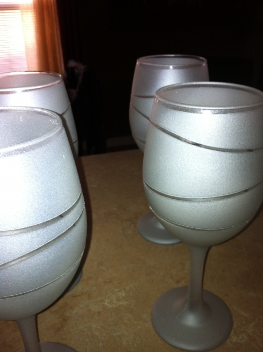 DIY Frosted Wine Glasses.