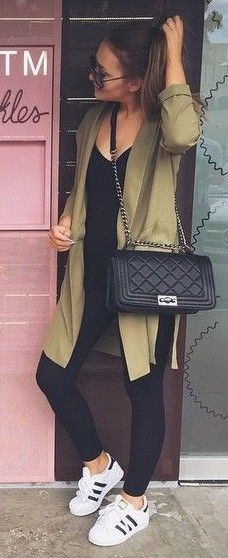 #Street #Fashion | Sporty Army Green On Black and Pop Of White | That Pommie Girl                                                                             Source