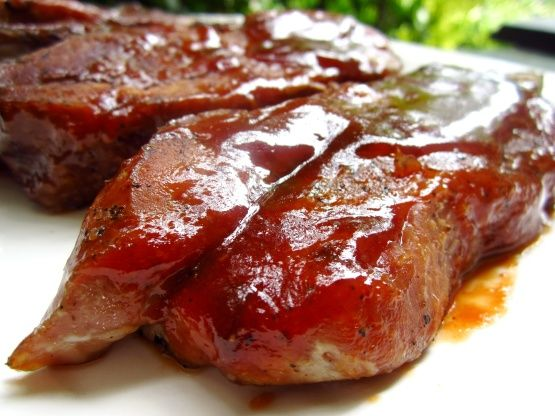 Country Style Pork Ribs...  8-10 Country-style Pork Ribs, 2 T. Garlic Powder, 1 T. Salt, 1 T. Pepper, 2 c. fave BBQ Sauce...  Preheat oven to 325*F. Place ribs meaty side up in an ungreased, foil-lined baking dish. Sprinkle with garlic powder, salt, and pepper. Cover with foil. Bake 2 hours. Drain liquid. Brush ribs generously with BBQ sauce. Bake uncovered for an additional 30 minutes in oven, or on the BBQ. Add more sauce half-way through cooking time.