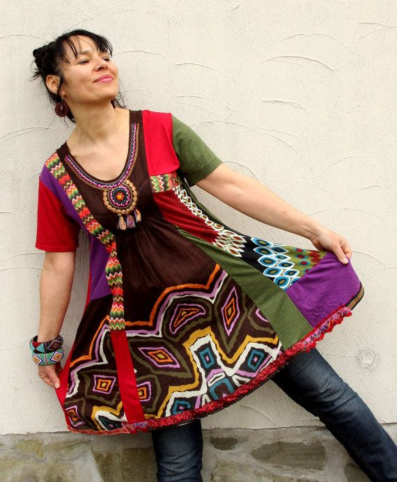 Reserved for Ana Cantero M M/L ethno hippie boho tribal recycled dress tunic