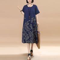 Retro Splicing Floral Summer Loose Women Linen Cotton Navy Blue Dress