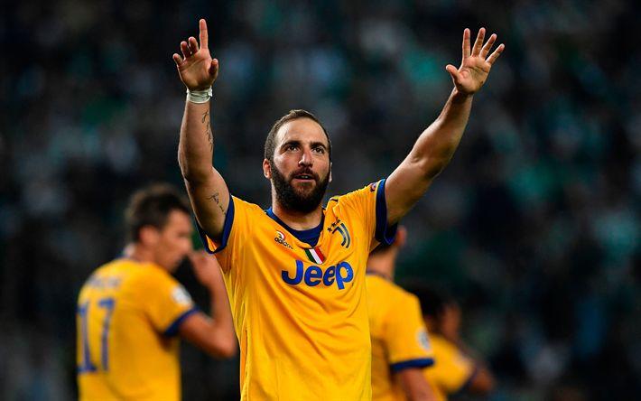 Download wallpapers Gonzalo Higuain, 4k, Juventus, Italy, Argentinian footballer, Juventus yellow kit, new Juventus logo