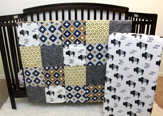 Custom Buffalo Aztec Baby Toddler Bed Set, Boy Quilt & Fitted Sheet, Baby Boy Aztec Bedding, Southwestern Crib, Aztec Buffalo Grey Nursery