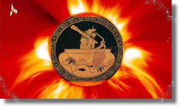 Έτσι θα είναι πάντα νέα και θα παραμείνουμε ΤΗΛΕΜΑΧΟΙ, του Οδυσσέα παιδιά. Ο Ηρακλής όταν πήγε να φέρει τα βόδια από τον τρικέφαλο βροντόφωνο Γηρυόνη, επιβιβάστηκε σε κύπελλο χρυσό του γρηγοροπόδη …