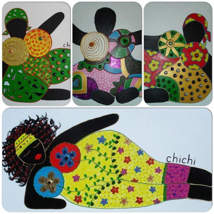 Chichi's , acrylverf gedecoreerd met steentjes