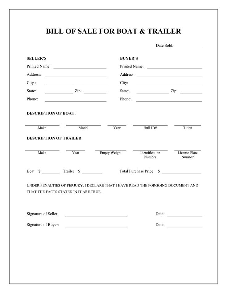 Free Boat  Trailer Bill of Sale Form - Download PDF Word