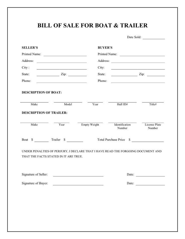 Free Boat & Trailer Bill of Sale Form Download PDF