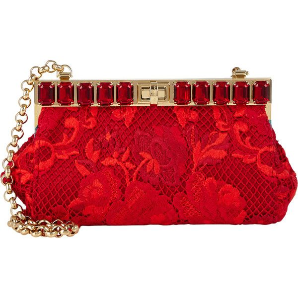 Dolce & Gabbana Ricamo Pochette (€1.310) ❤ liked on Polyvore featuring bags, handbags, clutches, red, purses, chain handle handbags, dolce&gabbana, chain strap purse, chain strap handbag ve dolce gabbana purse
