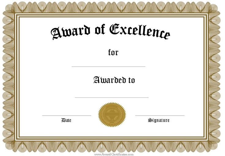 free funny award certificates templates | Editable Award of Excellence