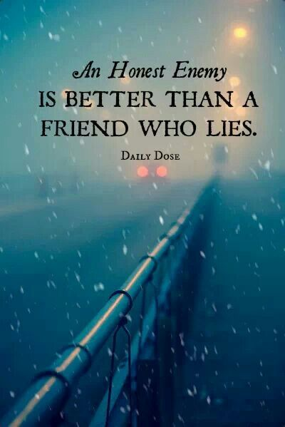 An honest enemy might be hard to take, but better than a two-faced friend. This quotes makes you think.