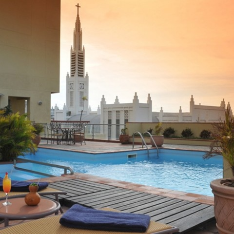 Pool deck overlooking the city - Pestana Rovuma Hotel & Conference Centre. Quote and book http://www.south-african-hotels.com/hotels/pestana-rovuma-hotel-and-conference-centre-maputo/