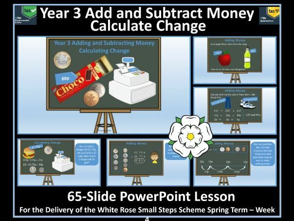 Year 3 - Money Add and Subtract Money and Calculate Change PowerPoint Lesson For White Rose Maths