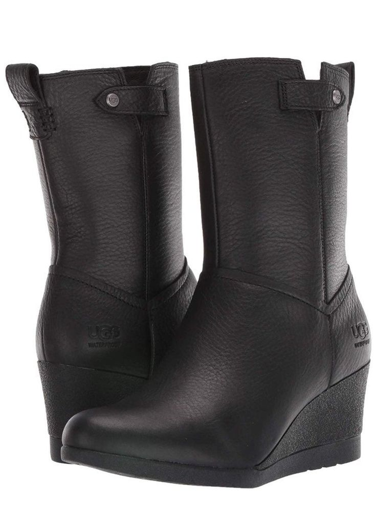 Ugg Potrero Black Leather Boots