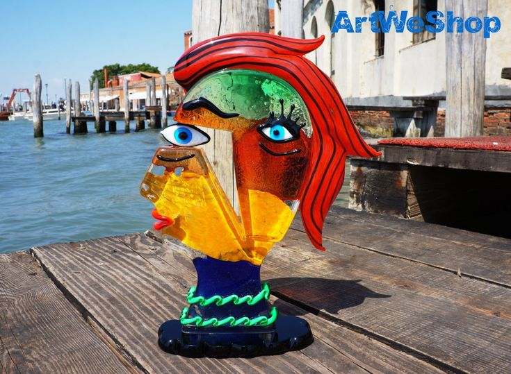 Glass Sculpture – Murano Glass Figure – Homage to Picasso - Venetian Art Glass Head Made in Italy - 28cm - Made to Order by Mario Badioli by ArtWeShop on Etsy