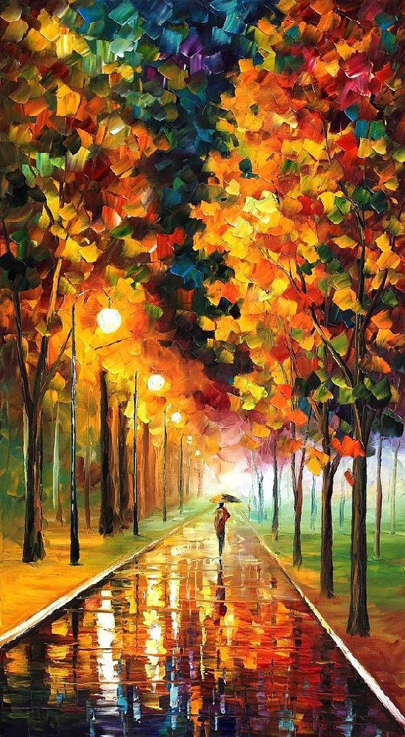 "Light of autumn - PALETTE KNIFE Oil Painting On Canvas By Leonid Afremov - Size 20"" x 36"""