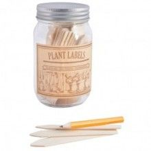 plant labels in a jar
