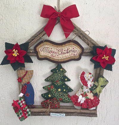 Natale - Ghirlanda Casette Sue e Bill con albero di Natale
