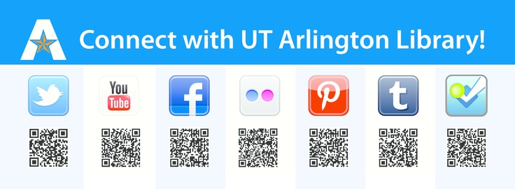 Like the UTA Library's Pinterest? You'll LOVE our Twitter, Tumblr, Facebook, Flickr, Foursquare, YouTube!