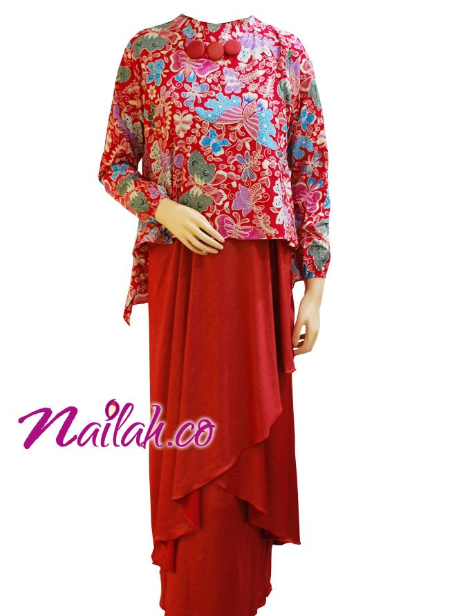 Baju Muslim Cantik - Gamis Pesta Batik Merah