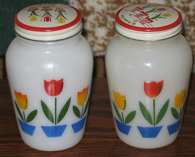 Vintage Fire King Tulip Shakers
