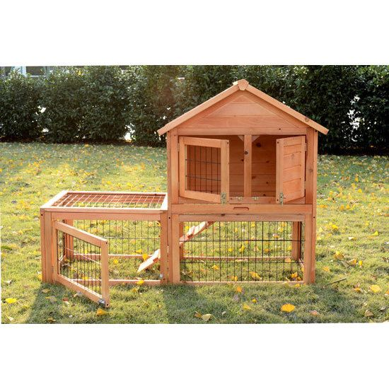 Keep your rabbits and other small pets safe and comfortable by housing them in this spacious, two-story hutch. Constructed from sturdy wood and coated with a nontoxic water-based preservative, this hu