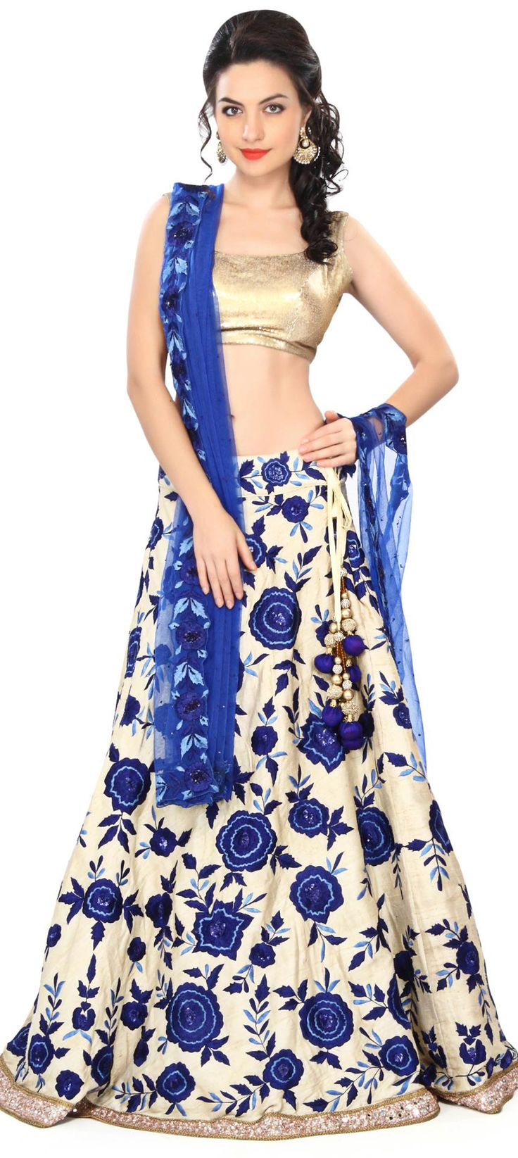 Buy Online from the link below. We ship worldwide (Free Shipping over US$100) Price - $849.00 Click Anywhere to Tag http://www.kalkifashion.com/semi-stitched-lehenga-featuring-in-beige-with-resham-embroidery-only-on-kalki.html