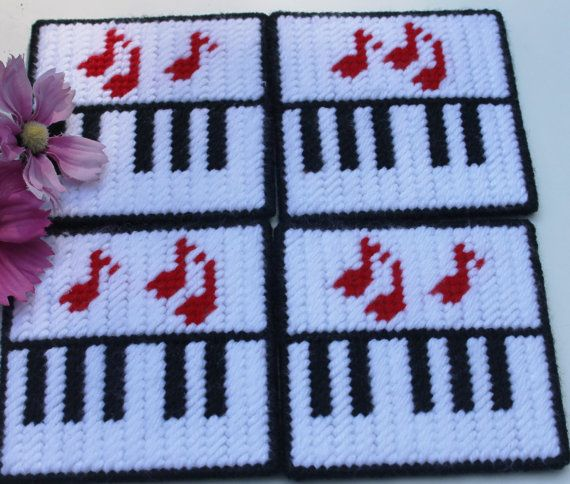 4 Coaster Set  Piano Keys and Notes  yarn by MissLadyBugCrochet, $16.00