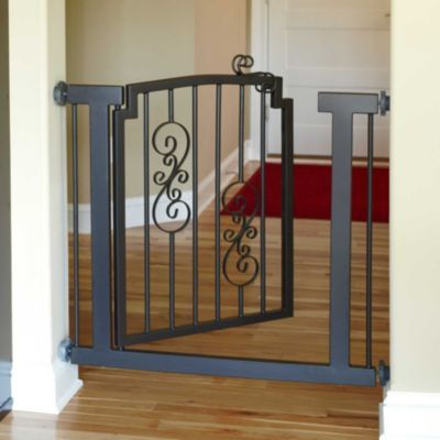 Wrought Iron Scroll Pet Gates - could be used for baby gate say the top of the stairs. ...they make pet gates so much more appealing than baby gates!