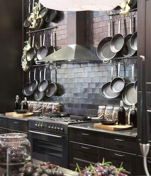 pots and pans . . .: Pots Racks, Dark Kitchens, Dreams Kitchens, Ikea Kitchen, Subway Tile, Black Kitchens, Pan Storage, Hanging Pan, Hanging Pots