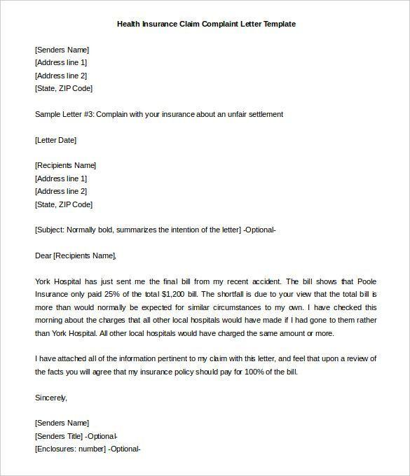 For Insurance Claim Letter