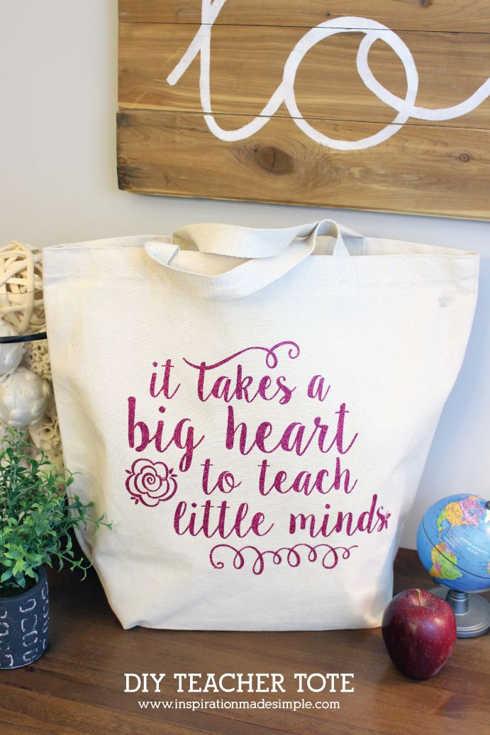 DIY Teacher Tote Gift with Heat Transfer Vinyl