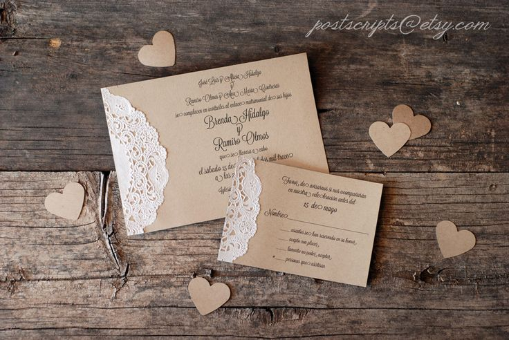 Custom for Jill - Vintage Lace Doily Wedding Invitations - Script Calligraphy - Baby & Bridal Shower  - Engagement - Rustic Shabby Chic. $375.00, via Etsy.