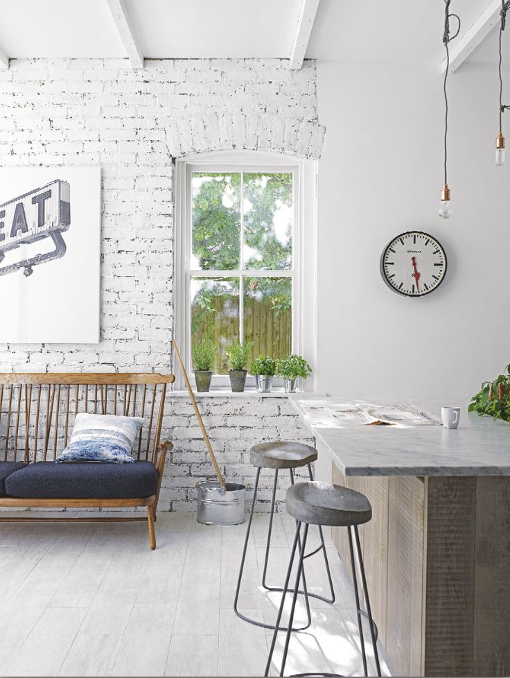Want Modern Rustic Kitchen Decorating Ideas? Take A Look At This Modern  Rustic Kitchen Eating Area With Exposed Brick Wall For Decorating  Inspiration.