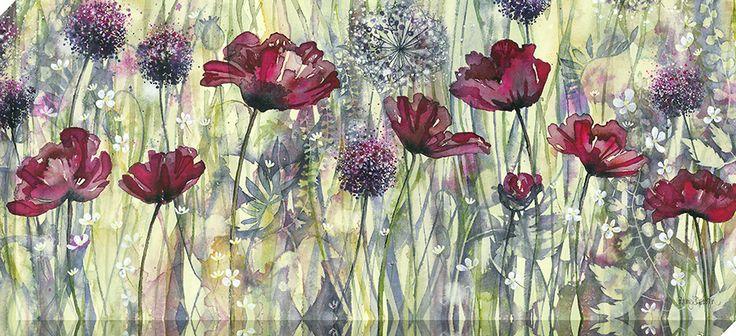 Raspberry Poppy Meadow Canvas Wrap by Catherine Stephenson - Decorative Art Centre