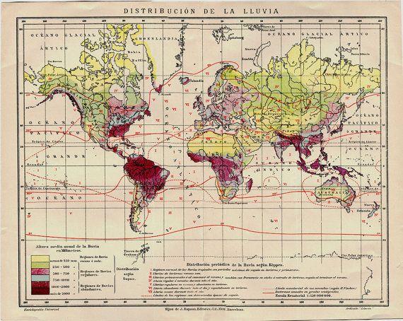 Vintage World Map 1920s World Annual Rainfall by CarambasVintage