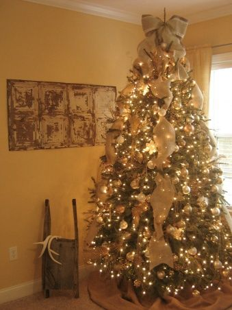 Burlap Christmas - Living Room, Living Room, Chrismtas, Burlap, Shabby Chic, Vintage, Rustic, Neutral, Cottage, Vintage Sled, Holidays Design