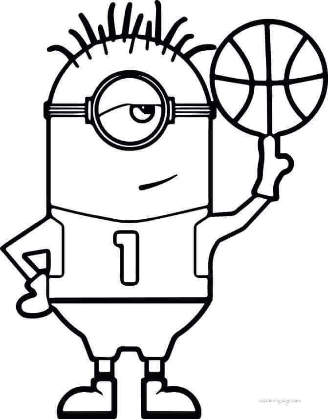 Minion Basketball Coloring Page Minion Coloring Pages Sports Coloring Pages Bunny Coloring Pages
