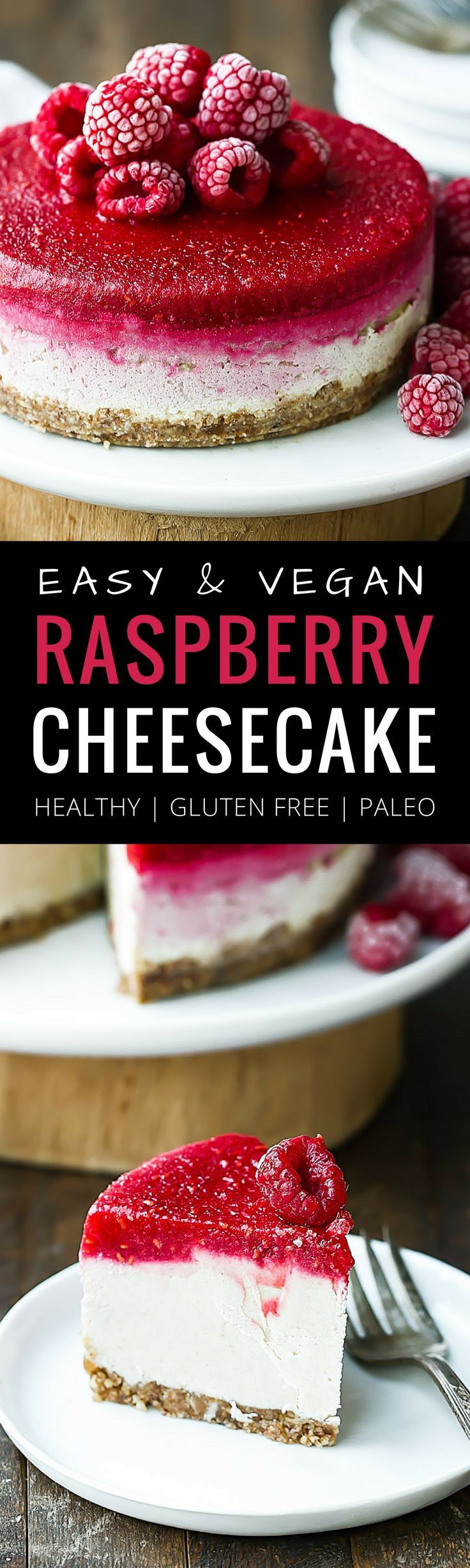 Easy Vegan Raspberry Cheesecake. Raw cheesecake recipe. No bake cashew cheesecake. Best gluten free vegan cheesecake