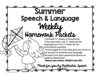 Here are some READY MADE, BLACK & WHITE, PRINT & GO homework packets for your younger students. These are weekly homework sheets, meaning you get 1 sheet per week. One speech or language task per week is pretty manageable, even for the busiest of families!