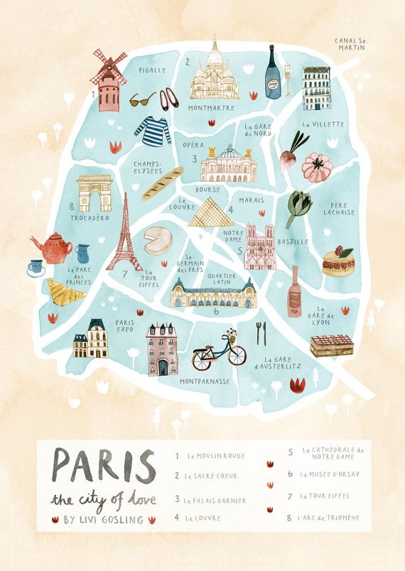 Paris Illustrated Map - Paris Print - City Map Poster  Romantic illustrated map print of Paris, France. Featuring the Eiffel Tower, The Louvre, The Moulin Rouge, Sacre Coeur and of course... Macarons and French patisserie! All of these elements make this the perfect Parisian poster / wall decor for you home.  High quality print of original illustration on thick paper.  A3 size 297 x 420 mm…