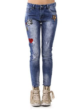JEANS SKINNY CON PATCH