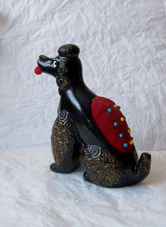 Vintage 50's Ceramic Poodle Pin Cushion and by MargsMostlyVintage, $89.00