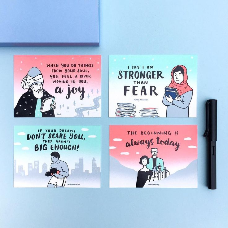 For our limited edition postcards, we chose these four inspirational figures to represent not only the different periods they lived in, but also to represent diversity in their cultures and backgrounds. 👩🏼👧🏾👴🏽👨🏿From the wise, old Rumi of Persia from the 13th century, all the way to bold, young Malala of Pakistan today, each of them tell a unique story. 😌  Give us a holler if you can't wait to receive your pre-order bundle already! (We certainly can't wait for you to receive it!)😍
