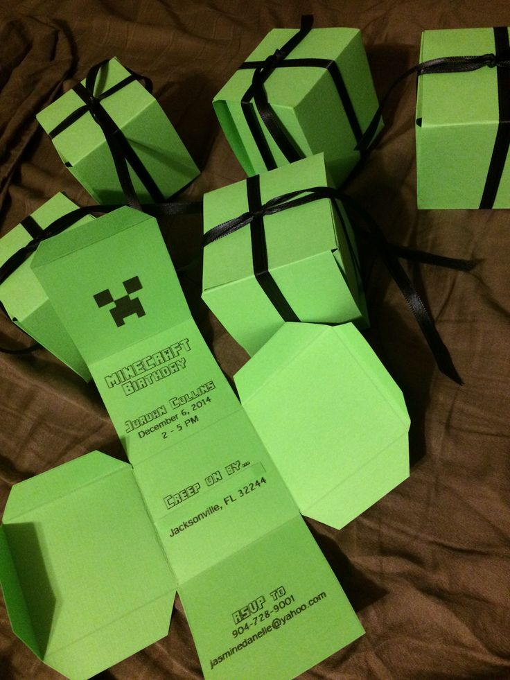 Made these cute and easy creeper invitations using card stock. Wrap them with black ribbon to keep them closed. Found a template online, designed and printed the invitation using Photoshop.