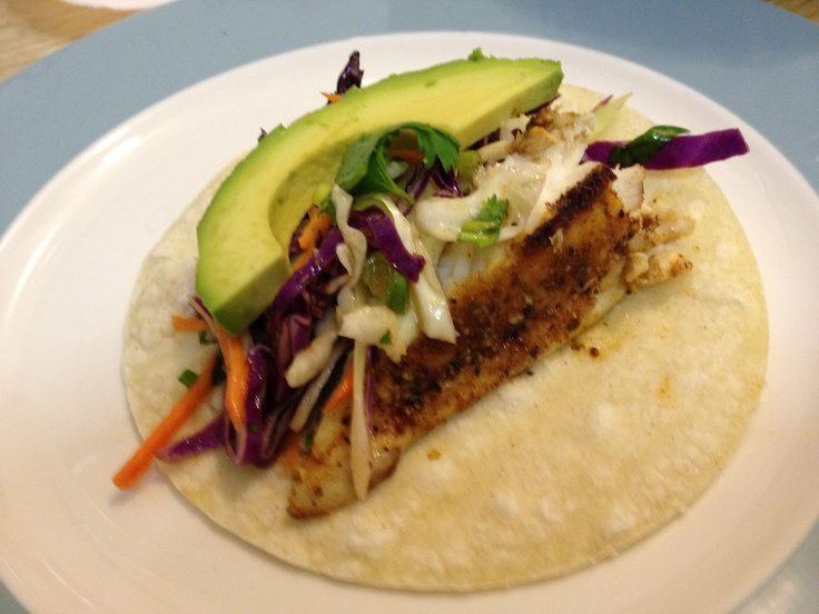 "... Chef ""its good for you!"" Blackened Fish Tacos, one of my favorites"
