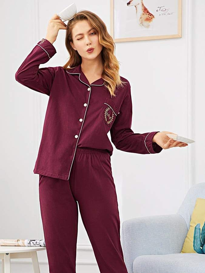 8e55034d2e31 Shein Contrast Binding Letter Embroidered Pajama Set  Binding Contrast Shein