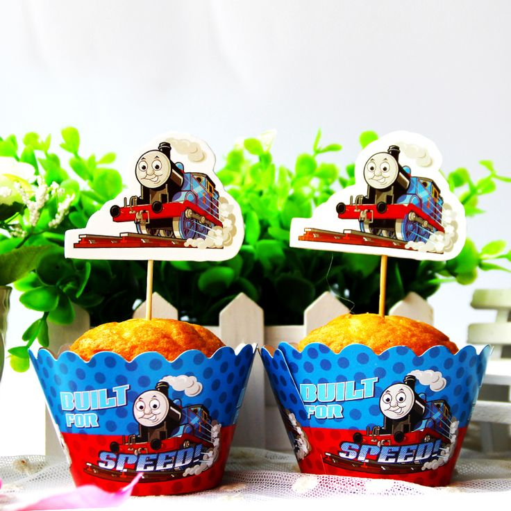24pcs Thomas & Friends cupcake wrapper+ topper,party cupcake decoration,kids favor birthday/wedding party decoration suppiles